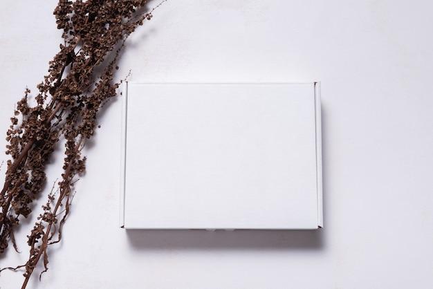 乾燥した枝、モックアップで飾られた白いカートン段ボール箱