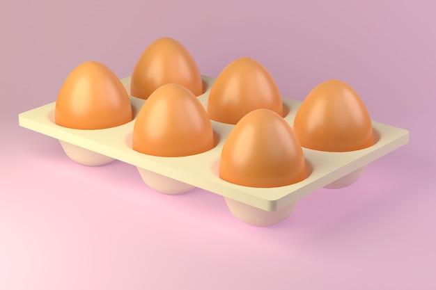 新鮮な生の鶏卵の白いカートン茶色の卵3dの消費者パック