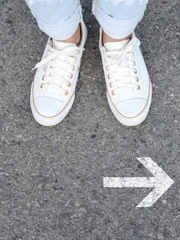 White casual shoes making decision
