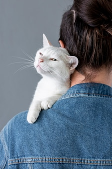White cat sitting on owner shoulder