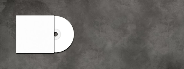 White cd - dvd label and cover  template isolated on horizontal concrete banner