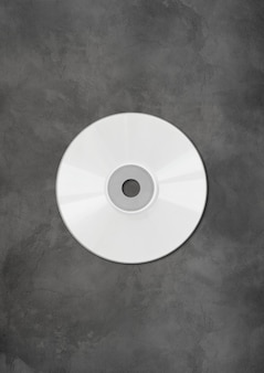 White cd - dvd label mockup template isolated on concrete background