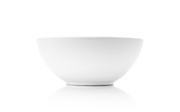 White ceramic bowl or deep dish isolated on white