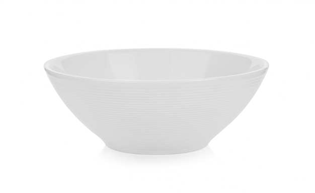 White ceramic bowl on white space