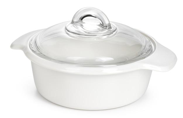 Белый керамический горшок, изолированные на белом фоне