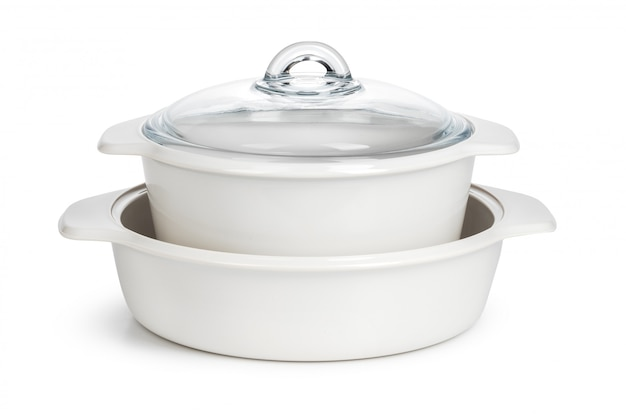 White ceramic cooking pot isolated on a white surface