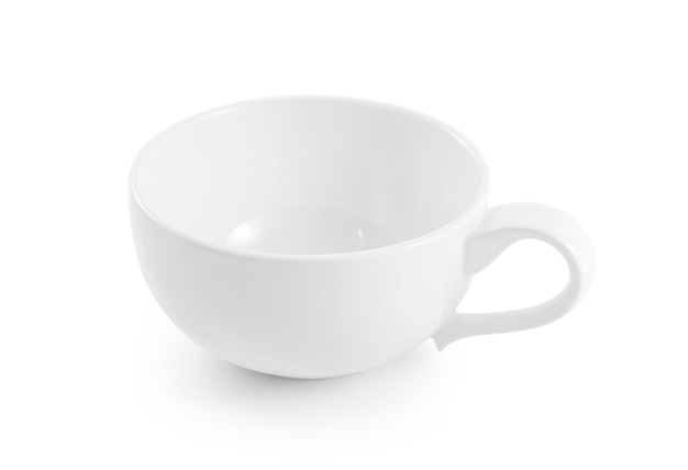 White ceramic cup on white background.