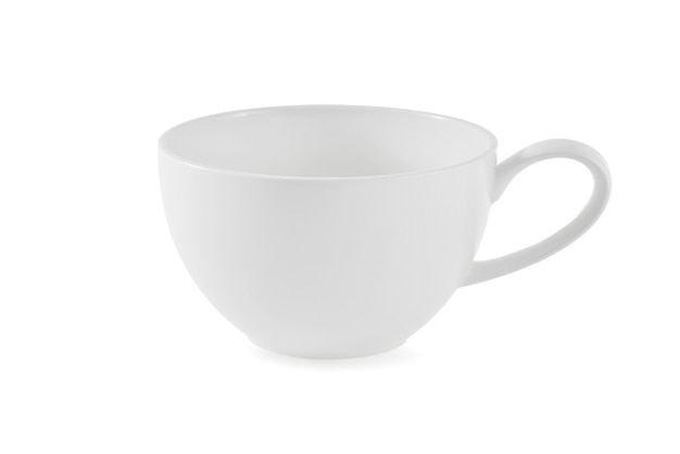 White ceramic cup on white background