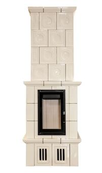 White ceramic fireplace isolated on white