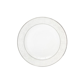 白い背景に分離された白いセラミックプレート。フラットレイ、上面図