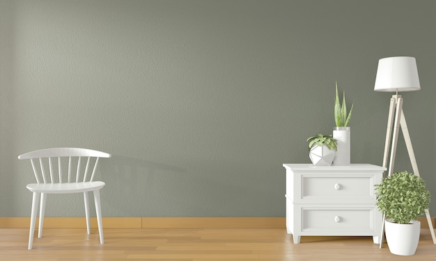 White chair and decoration in modern empty room. 3d rendering