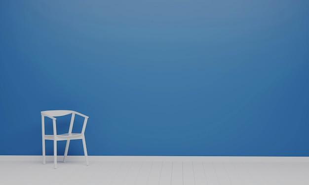 古典的な青い色のリビングルームの白い椅子。最小限のスタイルのコンセプト。パステルカラーのスタイル。