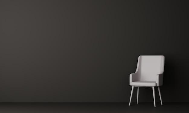 暗い部屋で白い椅子。 3dレンダリング。