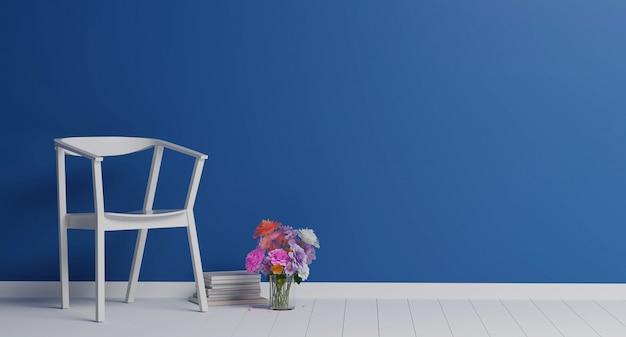 古典的な青い色のリビングルームでカラフルな花と白い椅子。最小限のスタイルのコンセプト。パステルカラーのスタイル。