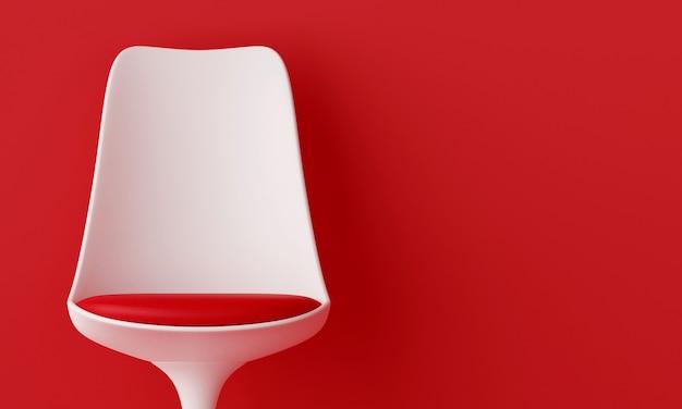 青いリビングルームの赤いクッション付きの白い椅子。 3dレンダリング。