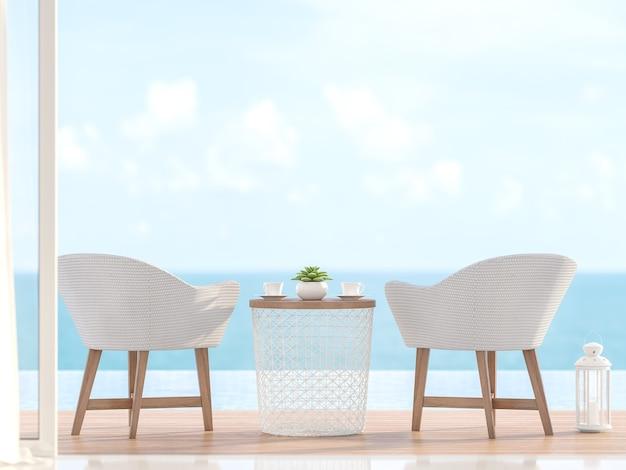 Белые стулья на деревянных ножках, расположенные на террасе у бассейна с размытым фоном моря 3d визуализации