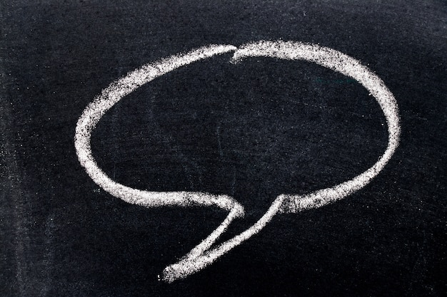 White chalk drawing as round bubble speech on black board background