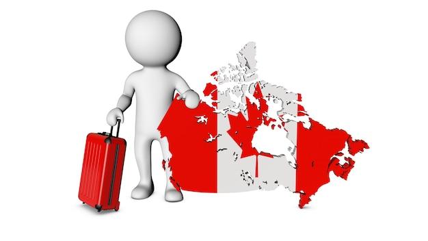 スーツケースを持った白いキャラクターがカナダを訪問