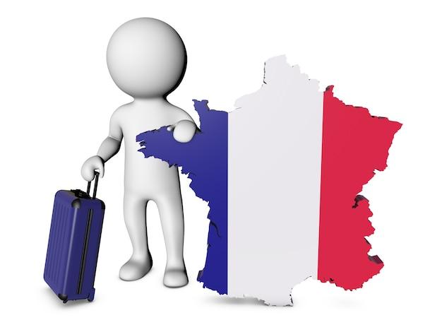 スーツケースを持った白いキャラクターがフランスを訪問