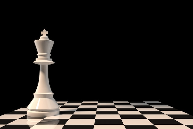 Белый шахматный фигур на шахматной доске в 3d-рендеринге