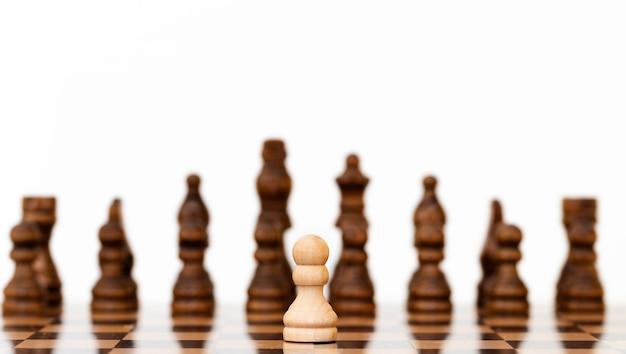 흑인과 백인 체스 보드에 흰색 체스 폰.