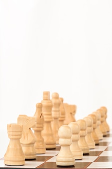 White chess pieces standing at the chessboard