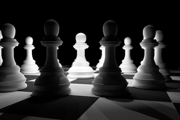 White chess in spotlight surround on chess board