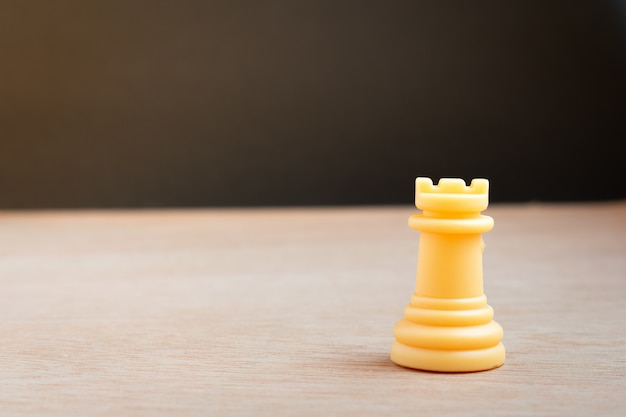 White chess tower with black background