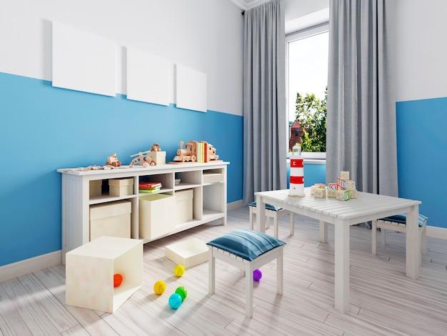 옷, 린넨, 속옷, 아동복을 위한 서랍이 있는 어린이 방의 흰색 서랍장. 다양한 장난감. 3d 렌더링.