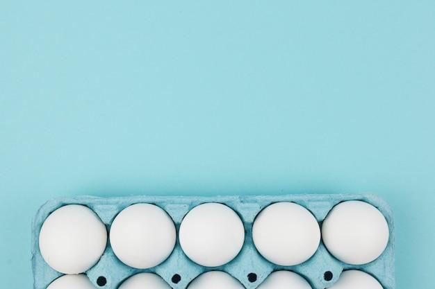 Il pollo bianco eggs in scaffale sulla tavola blu