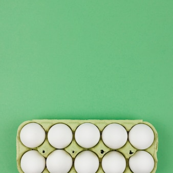 White chicken eggs in rack on green table