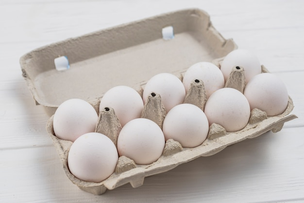 White chicken eggs in rack on light table