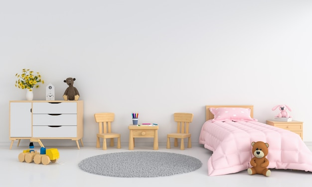 White children room interior for mockup
