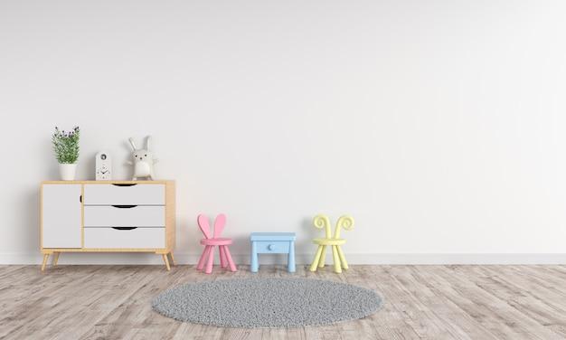 White children room interior for mockup