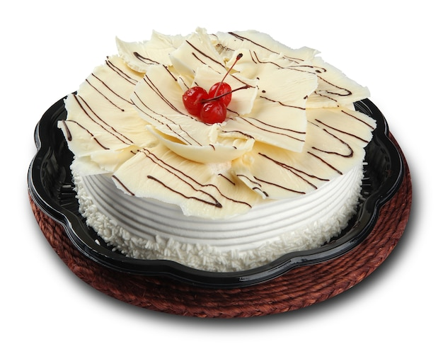 White chocolate cake with chocolate chips. white space.