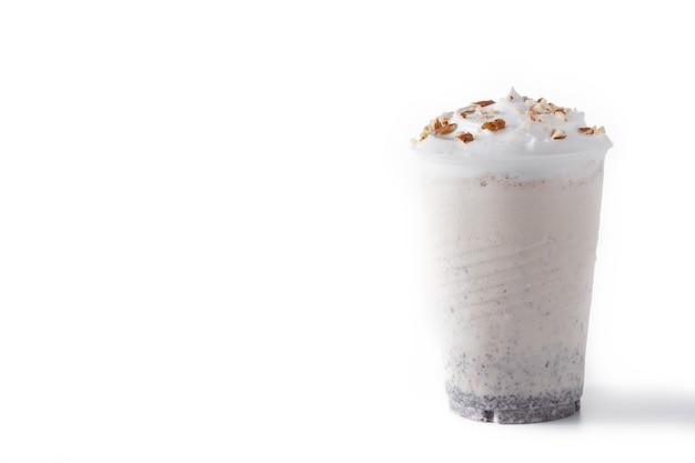 White chocolate, vanilla, and nuts iced milkshake