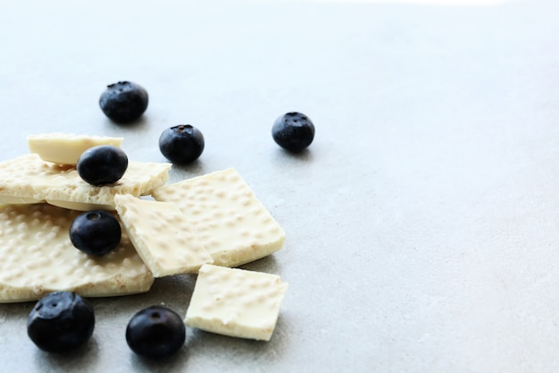 White chocolate with blueberries