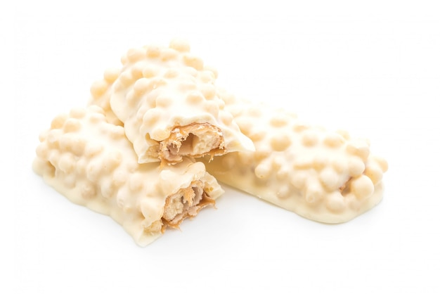 White chocolate with caramel and cereal crispy bar
