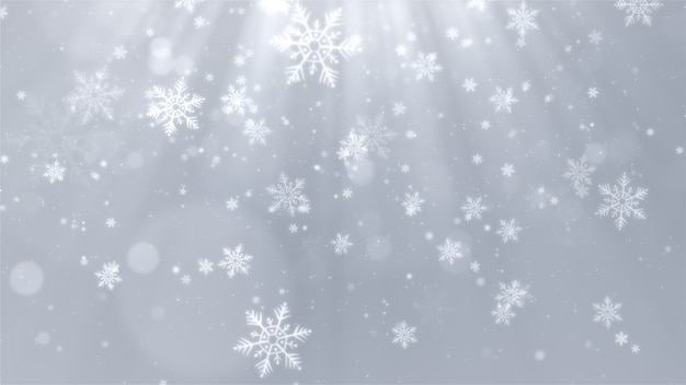 White christmas background with snowflakes shiny lights and particles bokeh in elegant theme