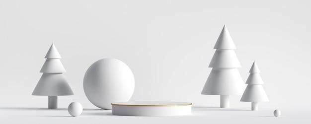 Белый новогодний фон с белыми елями и снежными шарами