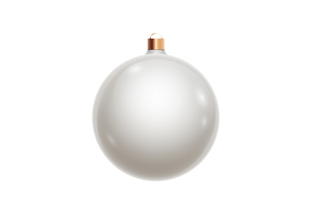 White christmas ball isolated on white background. christmas decorations, ornaments on the christmas tree.