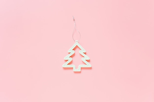 White christmas decoration tree toy. concept merry christmas or happy new year