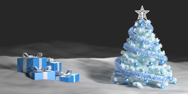 White christmas tree in the snow next to gift boxes, 3d illustration
