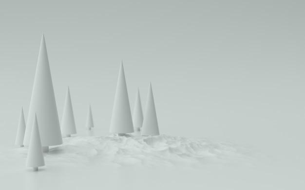 화이트 크리스마스 트리 배경 3d 그림