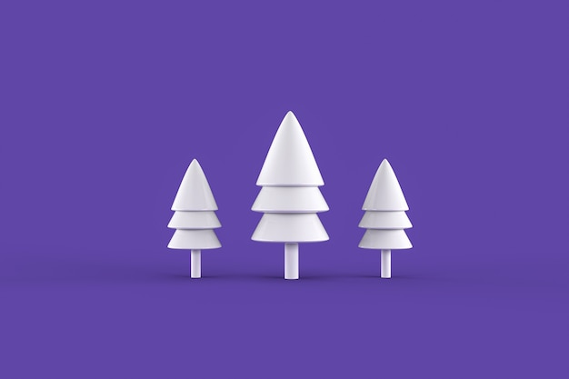 White christmas trees on purple surface