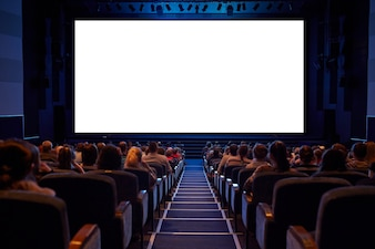 White cinema screen with audience.