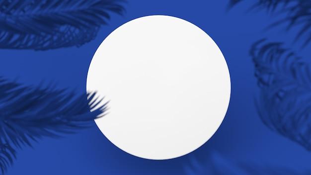 White circle blue background palm trees
