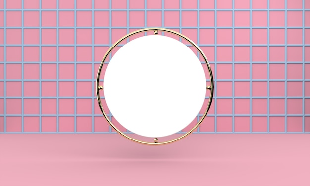 White circle hanging on blue grid on pink wall
