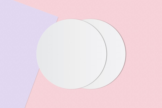 White circle paper and space for text on pastel color background