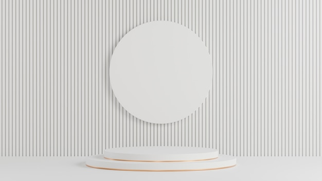 White circle podium for product presentation on white lath wall background minimal style.,3d model and illustration.